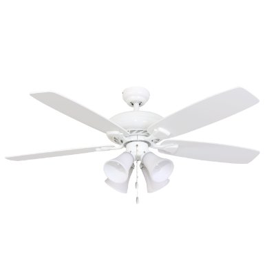Calcutta 50096 52-Inch Rialto 4-Light White Ceiling Fan, White and Maple Fan Blades